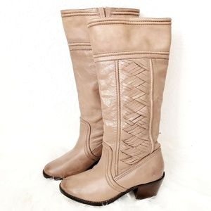 Fossil Tall Woven Leather Taupe Heeled Riding Boot